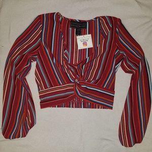 Striped Long Sleeve Twist Front Crop Top